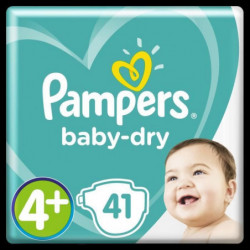 PAMPERS Baby-Dry Taille 4+, 10-15 kg - 41 Couches