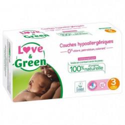 LOVE AND GREEN Couches ecolabellisées Taille 3 - 52 couches