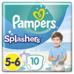 Pampers Splashers Taille 5-6, 14+ kg, 10 Couches-Culottes De