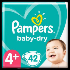 Pampers Baby-Dry Taille 4+, 42 Couches