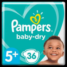 Pampers Baby-Dry Taille5+, 36Couches