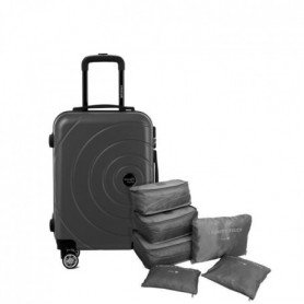 TRAVEL WORLD Valise 50 Cm + Set de 6 Organisateurs Couleur Gris