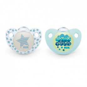NUK 2 Sucettes DAY & NIGHT Silicone 6-18m DUO