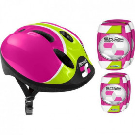 COMBO ROSE (Casque + Genouilleres & Coudieres) SKIDS CONTROL