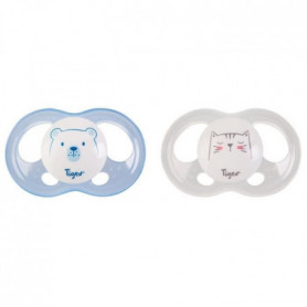 TIGEX 2 Sucettes Soft Touch Silicone Taille 6-18 m  Ourson Chat